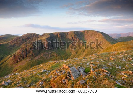 Dawn view from St Sunday Crag towards Cofa Pike and Fairfield in the English Lake District