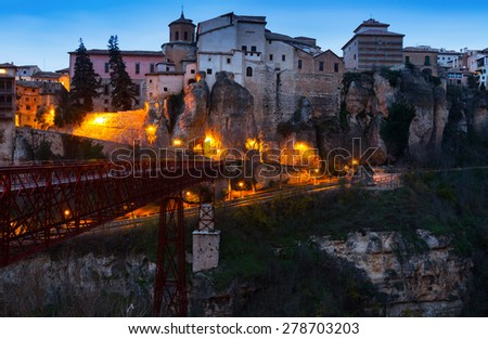 dawn view of Hanging Houses on rocks in Cuenca. Spain