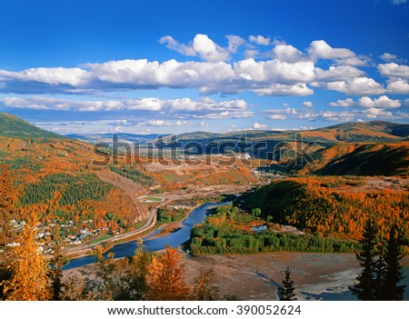 Dawson City, Klondike and Yukon rivers and Bonanza Creek in Tintina Trench - stock photo