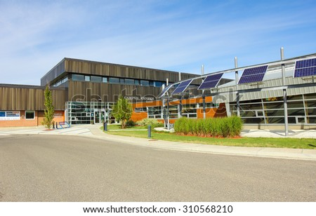 Dawson Creek, Canada - August 24, 2015 : The Northern Lights College in Dawson Creek is known as the British Columbia Energy College, specializing in Aerospace and Clean Energy Technologies.