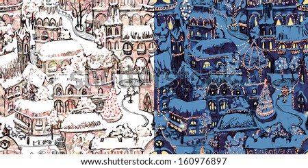 Day and night at Christmas town hand drawn illustration