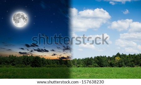 day and night background - stock photo