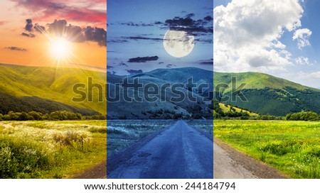 day and night collage of composite landscape with abandoned asphalt road rolls through meadows with flowers going to high  mountains - stock photo