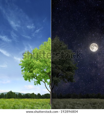 Day and night concept - stock photo