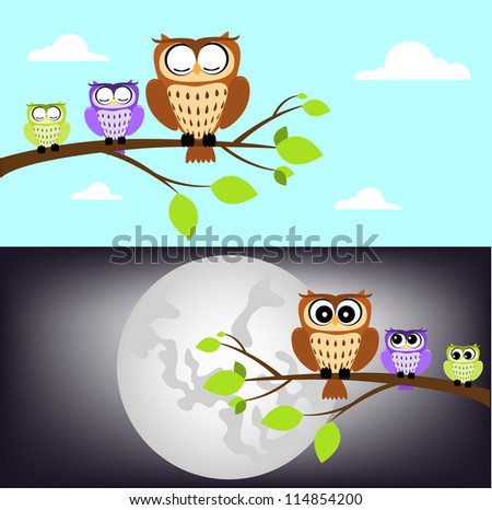 day and night owl - stock photo