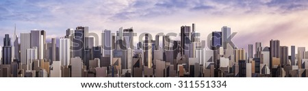Day city panorama / 3D render of daytime modern city under bright sky - stock photo