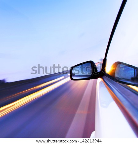 day drive on car - stock photo