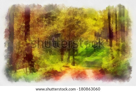 Day in the autumn forest - stock photo