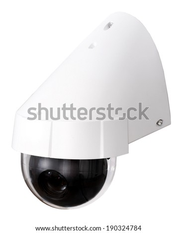 Day & Night Color IP surveillance camera isolated on white background with clipping path. - stock photo
