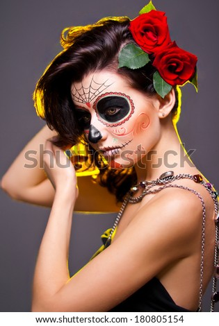 Day of dead make up - stock photo