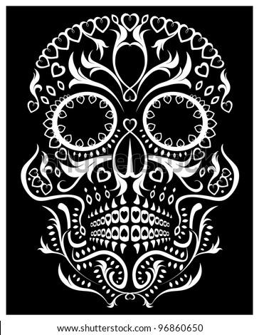 day of the dead skull (raster version) - stock photo