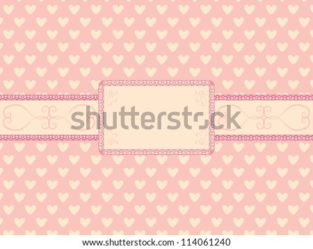 Day of  Valentine background with vintage frame