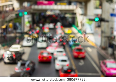 day road city motion blur on road bangkok