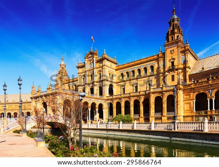 Day sunny view of  central building at  Plaza de Espana. Seville, Spain