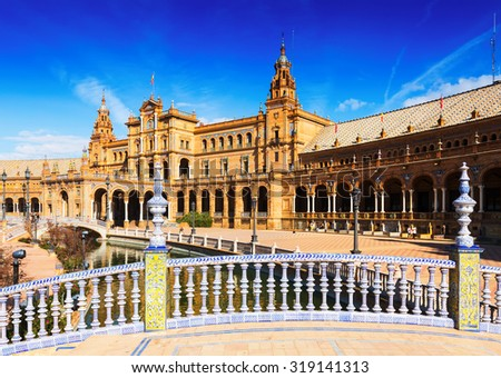Day sunny view of  central building from bride at  Plaza de Espana. Seville, Spain