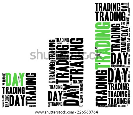 Day trading on stock market concept. Word cloud illustration. - stock photo
