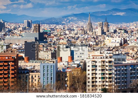 Day  view of  Barcelona cityscape from Montjuic. Catalonia, Spain - stock photo