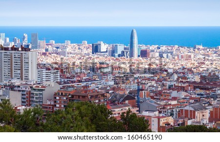 Day view of Barcelona from high point. Catalonia, Spain