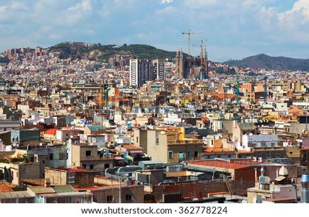 Day view of Barcelona with Sagrada Familia  from Santa Maria del mar. Catalonia - stock photo