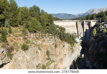 Day view of dam at Guadalentin river.   Spain