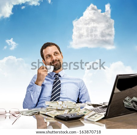 Daydreaming businessman with a cup of tea with head in the clouds / man hold cup of tea day dreaming looking up  - stock photo