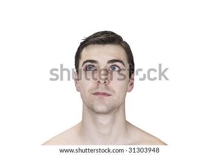 daydreaming young man on white background