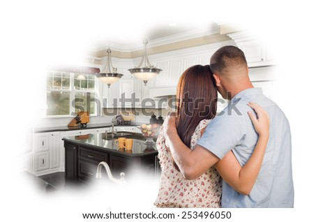 Daydreaming Young Military Couple Over Custom Kitchen Photo Inside Thought Bubble. - stock photo