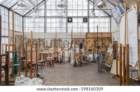 Daylight Art Studio Interior with Large Windows, Multiple Stretched  Canvases and Stuff, Saint-