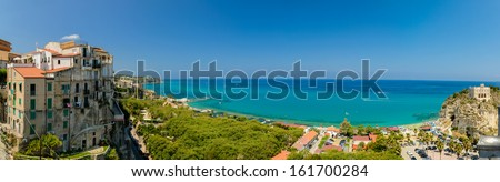 Daylight panoramic sea view seen from Tropea viewpoint, Calabria, Italy. - stock photo