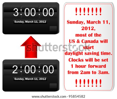 Daylight saving time begins. Icon of an electronic Clock and placard. Raster version. - stock photo