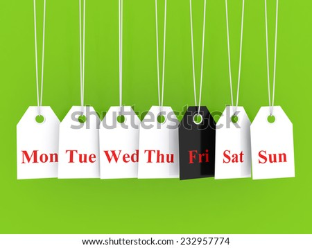 Days of the week symbols and black friday promotions on hanging labels - stock photo