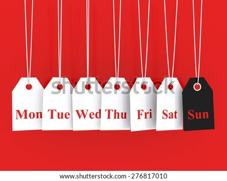 Days of the week symbols and sunday promotions - stock photo