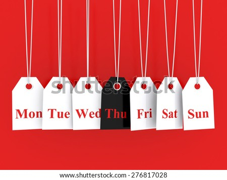 Days of the week symbols and thursday promotions - stock photo