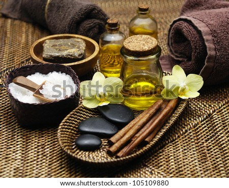Dayspa on straw mat - stock photo