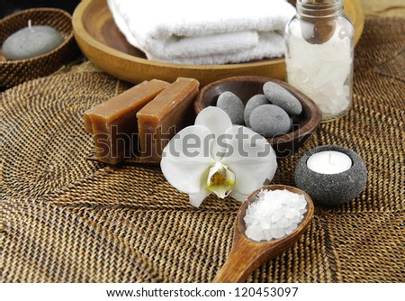 Dayspa on straw mat background