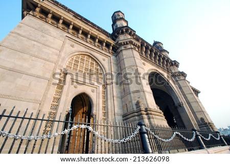 Daytime shot of Gateway of India, Mumbai, India. Low angle with copy space. - stock photo