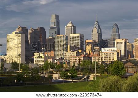 Daytime shot of Philadelphia skyline - stock photo