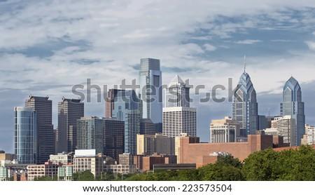 Daytime shot of the Philadelphia skyline. - stock photo