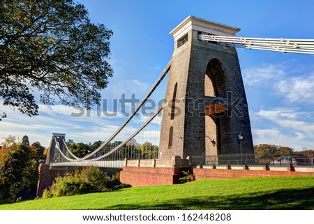 Daytime view of the Clifton Suspension Bridge in Bristol, England - stock photo
