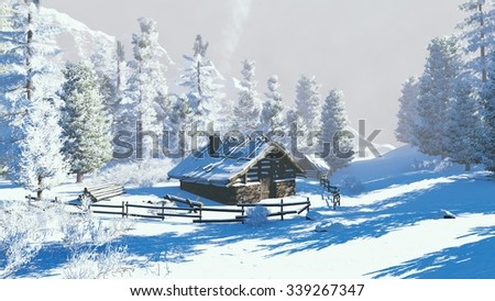 Daytime winter scenery. Cozy little hut among snowy firs high in mountains. Decorative 3D illustration was done from my own 3D rendering file.