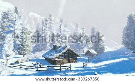 Daytime winter scenery. Cozy timber cabin and snowy spruces high in mountains at snowfall. Decorative 3D illustration was done from my own 3D rendering file.