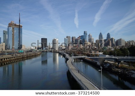 Daytime winter view over downtown Philadelphia from Schuylkill river side. - stock photo
