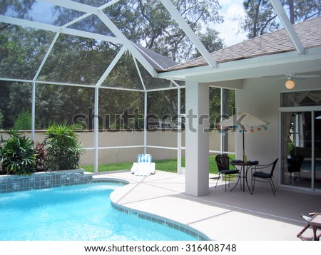 DAYTONA BEACH, FL-AUGUST, 2015:  Swimming pool enclosures like this are common in the south to keep out bugs and leaves. - stock photo