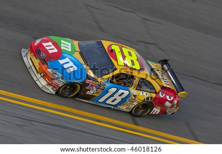 DAYTONA BEACH, FL - FEB 4:Kyle Busch brings out his M&M's Toyota for a practice session for the Budweiser Shootout event at the Daytona International Speedway Feb 4, 2010 in Daytona Beach, FL