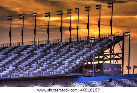 DAYTONA BEACH, FL - FEB 4:The sun sets on the front stretch grandstands at the Daytona International Speedway Feb 4, 2010 in Daytona Beach, FL