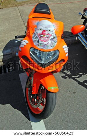 "DAYTONA BEACH, FL - MARCH 6: One of the more unusual motorcycles parked on Beach Street during ""Bike Week 2010"" in Daytona Beach, Florida."