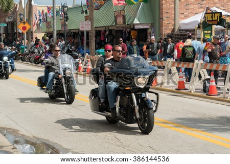 Daytona Beach, Fl, USA - March 4, 2016: The 75th Anniversary of the Daytona Beach Bike Week.