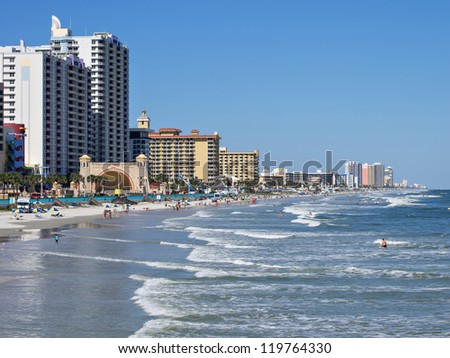 Daytona Beach Florida Boardwalk and shoreline - stock photo