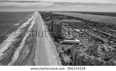 Daytona Beach, Florida. Stunning aerial view on a beautiful day. - stock photo