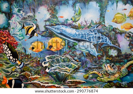 DAYTONA BEACH, FLORIDA, USA - MAY 7, 2015: Artistic mural of aquatic life painted on the outside of building wall.